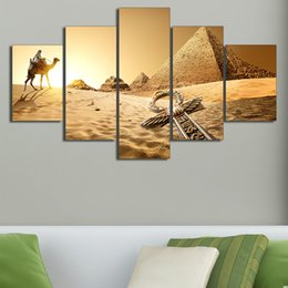 cartoon seascape picture sets NZ - 5 Pcs Set Framed HD Printed Egypt Pyramid Of The Desert Picture Wall Print Poster Canvas Oil Painting Cuadros Decorativos