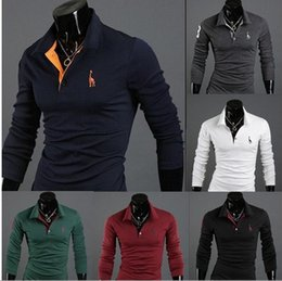 stylish polo shirts Canada - 2017 Autumn New Polo Shirt For Men Fawn Embroidery Luxury Casual Slim Fit Stylish T Shirt With Long Sleeve 6 Colors 4 Size