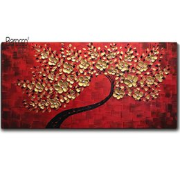 Tree Scenery Paintings UK - Wholesale Gold Flowers Tree Hand Painted Scenery Oil Painting on Canvas Modern Home Wall Art Decoration