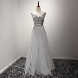 Robes En Argent Pas Cher-Real Beading Sequins Crystal Silver Prom Robes Long Tulle Sash Corset Robe de soirée 2017 Women Engagement Gowns Party Formal Gown Cheap