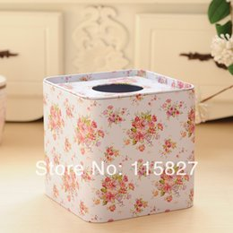 Paper Roll Holders Australia - Wholesale- Free Shipping!2014 New coming Iron Facial paper case Flower Tissue Box Metal square Napkin Holder Rose Flower Home Storage box