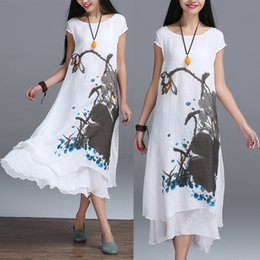 f468ebe0b0 2016 Free Shipping New Summer Chinese Style Linen Cotton Dress Two False  Art Print Ink Loose Casual White Maxi Dresses Summer St