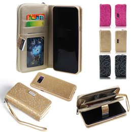 Silicone wallet zipper online shopping - Multifunction Bling Glitter Flower Wallet Leather For Iphone XR XS MAX X Galaxy S9 S8 Card Slot Detachable Removable Zipper HandBag