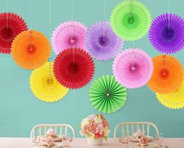 Flower craFting online shopping - Hot Showers Wedding Party Birthday Festival Tissue Paper Cut out Paper Fans Pinwheels Hanging Flower Paper Crafts