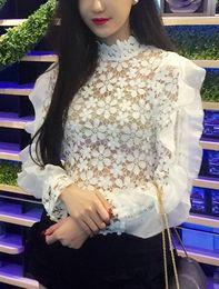$enCountryForm.capitalKeyWord Australia - New women's runway fashion stand collar white lace crochet floral hollow out long sleeve ruffles blouse shirt plus size XSSML