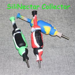 Rigs Bongs Australia - Silicone Nectar Collectors kits with 10mm GR2 Titanium nail Mini silicone water Pipe dab Oil Rig Mini silicon Bong