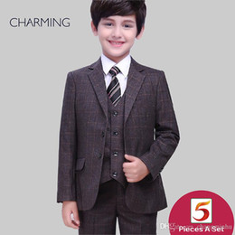 Three Piece Suit Bow Australia - Boys outfits Three piece suit Free shirts and bow ties Chocolate Plaid high quality Baby boy suits Childerns suits Wedding suits for boys