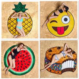 $enCountryForm.capitalKeyWord NZ - 20pcs Round Polyester Shawl Skull Ice Cream Strawberry Smiley Emoji Pineapple Pie Watermelon Beach Shower Towel Blanket Beach Towel F945-3