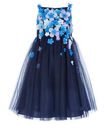 Fille De Fleur Tutu Bleue Pas Cher-New Summer Blue Girls Flower Princess Robes Princesse Robe de soirée Fashion Tulle Pageant Robes longues longues Robe de mariée Vêtements pour enfants A415
