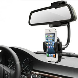 Wholesale For Iphone S8 Car Mount Car Holder Universal Rearview Mirror Holder Cell Phone GPS holder Stand Cradle Auto Truck Mirror With Retail Box
