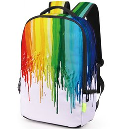 Oil paintings girls online shopping - Oil paint backpack Colorful die daypack Picture schoolbag Casual rucksack Sport school bag Outdoor day pack