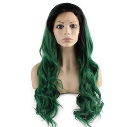 $enCountryForm.capitalKeyWord UK - Long Wavy Dark Root Green Two Tone Lace Front Ombre Wig