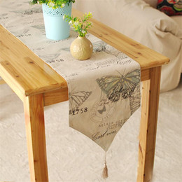linen bedding sale Canada - Hot sales British Foreign foot of the bed a Mediterranean table flag textile factory outlets soft linen table runner