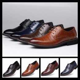 Comfortable Wedding Dress Shoes Canada - 2017Men Brand top quality Lace up dress shoes luxury genuine leather weave comfortable pointed toe luxury wedding shoes mens flats business