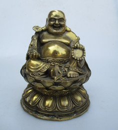 collection brass NZ - High: 18CM!!! Art Collection Home Decorated Brass Carved Lucky Buddha Statue Home Feng Shui Sculpture