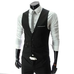 Wholesale high end men s suit for sale - Group buy S XXXL stylish men fall slim fit high end business suit vest Male leisure v neck cotton vest groom dress Black formal