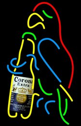 Parrot disPlay online shopping - Fashion Handcraft Corona Extra Parrot Bottle Real Glass Beer Bar Display neon sign x15 Best Offer