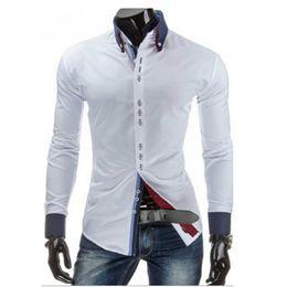 Discount Men White Double Collar Shirt   2017 Men White Double ...