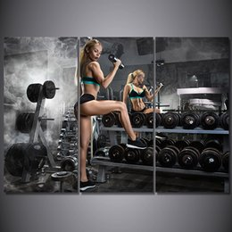 Discount free photo picture frames - HD Printed 3 Piece Canvas Art Dumbbells Fitness Painting Bodybuilding Hot Sexy Open Photos Wall Pictures Free Shipping