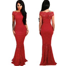 Chinese  Women Evening Party Dress Sexy Red Lace Dresses Lady Off Shoulder Crochet Long Mermaid Dress Robe de Soiree Fishtail Maxi Dress Vestidos manufacturers