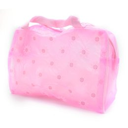 Cute Cosmetic Pouches Canada - Wholesale- 2017 New fashion Cute Hot Floral Print Makeup Bags Transparent Waterproof Cosmetic Bags case Toiletry Bathing Pouch