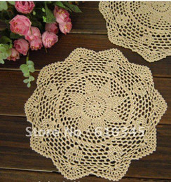 hands free pad NZ - Wholesale- Free Shipping 30CMX30CM Hand made cotton Crochet Doily Hand Crochet cup mat, ,cup pad, 12 PCS LOT wholesale