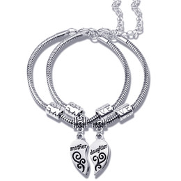 Chinese  2pcs set Mother Daughter Jewelry LOVE Heart shaped Charms Bracelets Bangels Fashion Wristband Women Christmas Mothers Day Gift 5 manufacturers