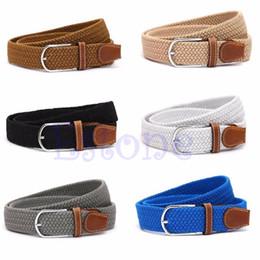 $enCountryForm.capitalKeyWord NZ - Wholesale- Men Leather Braided Elastic Stretch Cross Buckle Casual Golf Belt Waistband New