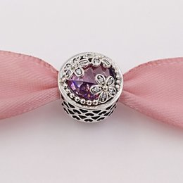 Plate clear online shopping - Genuine S925 Sterling Silver Beads Dazzling Daisy Meadow Pink Clear Cz Fit European Style Brand Bracelets Necklaces ALE PCZ