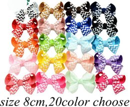Barato Fita De 4 Polegadas-3-4 Inch Baby Girls Chevron Zigzag Ribbon Hair Bows Clips Hairpin Girls Butterfly Striped Barrettes Hairgrip Headware Acessórios para cabelo infantil