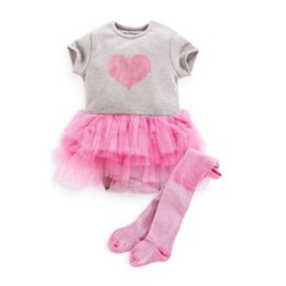 Barato Amor Do Vestido Do Tutu Do Bebê-Atacado- Cute Baby Princess Vestido Gauze Tutu Dress Love Print Outfits Girl Kids Top
