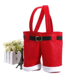 wine christmas ornament 2019 - Wholesale-2016 Christmas Lovely Red Santa Pants Treat Candy Wine Bottle Bags for Christmas Gift Shipping or Winebottle G