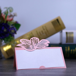 happy birthday laser cut paper NZ - 50pcs lot Free Shipping New Wedding Laser Cut Lily flowers Design Paper Place Seat Name Invitation Cards Weddding Birthday Party Table Decor