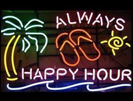 "$enCountryForm.capitalKeyWord UK - 20""x16"" Always Happy Hour Palm Tree Beer Bar Pub Neon Light Neon Sign -Excellent & Unique Handicraft!"