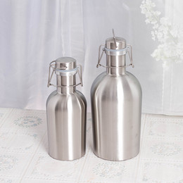 Silver inSulation online shopping - 30tm Stainless Beer Growler Bottle Portable Silver Stoup Insulation Flagon oz oz Growlers Silver Hip Flask Bottles High Quality R