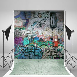 China 5x7ft(150x210cm) Birthday Backgrounds Hip-pop Graffiti Wall Background Green Brick Floor Photo Backdrop for Children Photography Studio suppliers