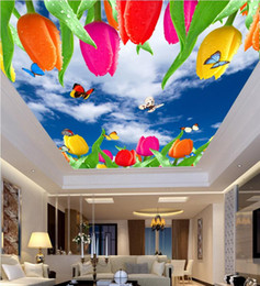 $enCountryForm.capitalKeyWord Australia - 3d photo wallpaper custom mural Blue sky white clouds tulip butterflies ceiling murals home decoration living room wallpaper for walls 3d