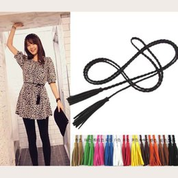 $enCountryForm.capitalKeyWord NZ - Wholesale- fashion designer hand-knit long pu leather braid belt string band with tassel,casual partty dress belts for women girl