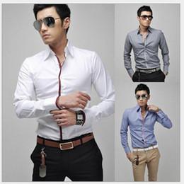 $enCountryForm.capitalKeyWord NZ - Turn Down Collar Shirt Men Business Casual Long Sleeve Single Breasted Contrast Color Flanger Design Mens Dress Shirt Free Shipping