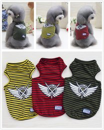 wedding t shirts designs NZ - Y12 Newly design Summer Pet dog Shirt Vest clothes Fashion Puppy dog Cats Boy Breathable Striped Vest T-Shirts for Yorkshire