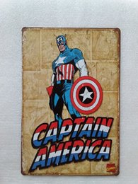 China Captain America Superhero Vintage home Bar Pub Hotel Restaurant Coffee Shop home Decorative Metal Retro Tin Sign supplier retro home bars suppliers