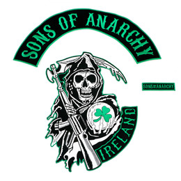 Wholesale New Arrival Ireland Reaper Motorcycle Biker Patch Iron On Back of Jacket Skull Ball Clover Applique Embroidery Patch