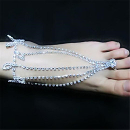 Wholesale Barefoot Anklets Sandals Foot Jewelry Beach Dancing Wedding Latin Dance Ankle Bracelet Chain Diamond Fashion Bride Jewelry