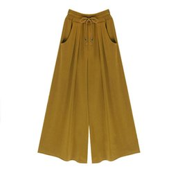 Cotton Palazzo Pants Canada - Summer Women Wide Leg Harem Palazzo Pants Bell Bottom Flare Trousers Loose Mid Waist Cotton Ankle-Length Drawstring Casual Pants