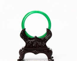 $enCountryForm.capitalKeyWord UK - 2017 Beautiful China xinjiang green jade stone Bangles and carved wooden pedestal FREE SHIPPING wholesale and retail