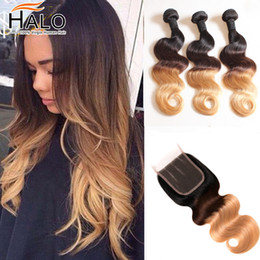 Wholesale halo human hair extensions nz buy new wholesale halo halo hair ombre brazilian virgin hair body wave with closure 3 tone ombre human hair extension weave bundles pmusecretfo Images