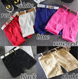 Korean Baby Flowers Canada - INS Korean summer autumn Candy Boys Shorts Children Shorts kids hole pants Baby casual pants Baby Boy Clothing boy's wear 6color free ship