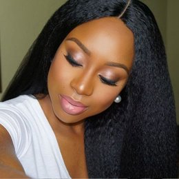 Silk Top Kinky Straight Wigs Canada - FULL LACE WIG HUMAN HAIR SILK TOP 4X4 size Lace Front Wigs Italian Yaki Full Lace Wigs With Silk Top for black women