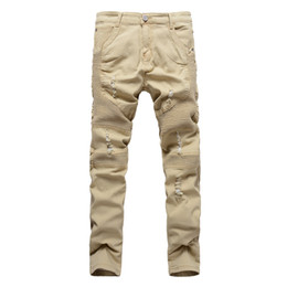 мужские джинсы оптовых-Khaki Biker Jeans Pleated Design Mens Skinny slim Stretch Denim pants New Arrival Hip Hop Street Ripped Jeans