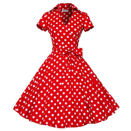 fashion short gown dresses UK - Retro Party Dresses Women Fashion 2019 Casual Polka Dot Short Sleeve Ball Gown Women Summer Dress Plus Size With Belt